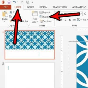 how to reset a slide in powerpoint 2013