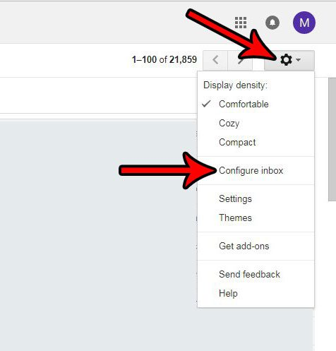 gmail configure inbox