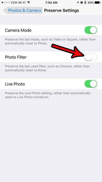 how to stop remembering the filter on the iphone 7 camera
