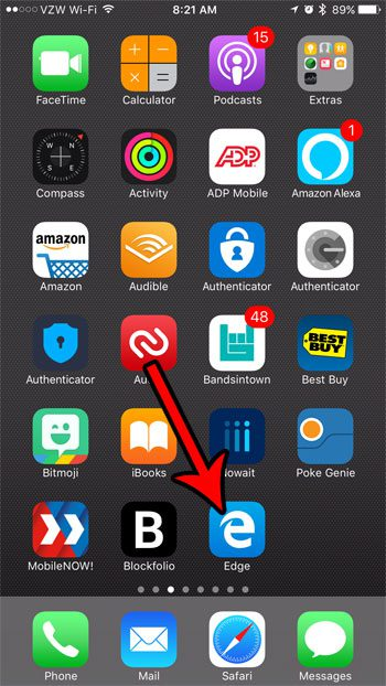 open the edge iphone browser