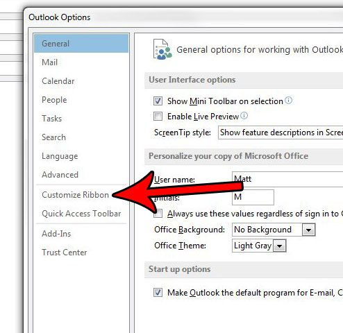 outlook 2013 enable developer tab