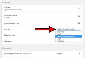 how to change default font size in google chrome