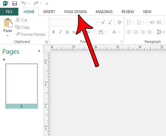 how to change document orientation in publisher 2013
