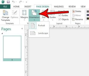 how to switch between portrait and landscape in publisher 2013