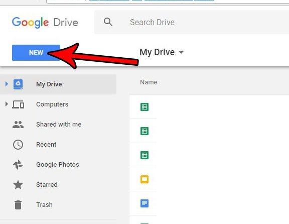 google drive create new file
