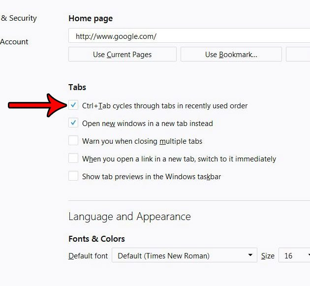 how to use ctrl tab to switch between tabs in firefox