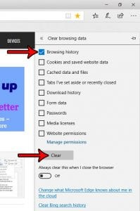 how to delete browsing history in microsoft edge