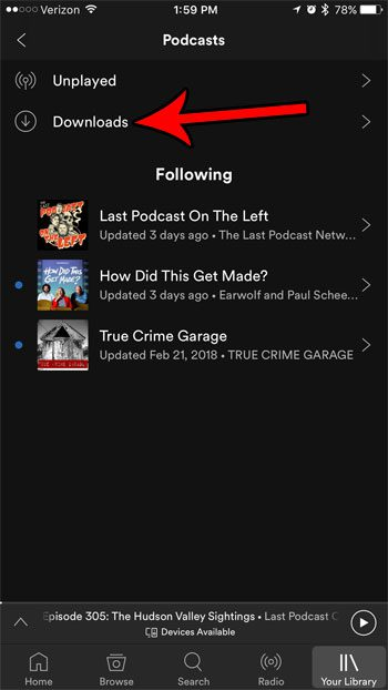 select downloaded podcasts