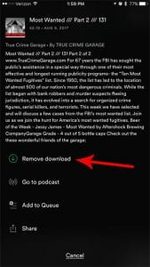 how to delete downloaded podcast episode from spotify on iphone