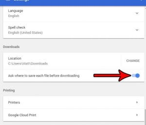 how to download to a different folder in google chrome