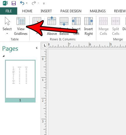 hide gridlines in publisher 2013 table