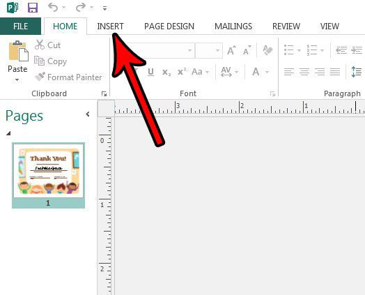 how to add publisher 2013 page numbers