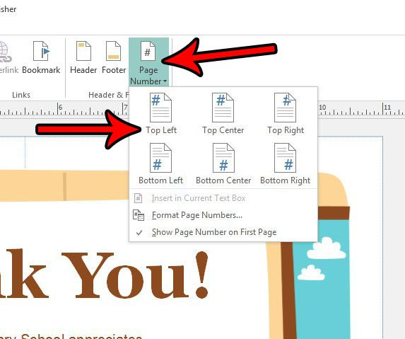 how to insert page numbers in publisher 2013