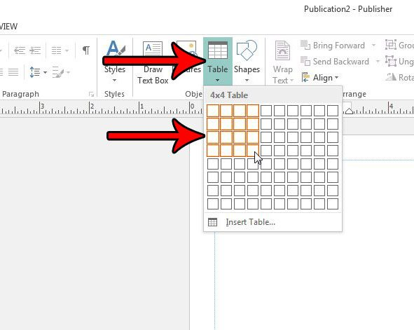 how to insert a table in publisher 2013