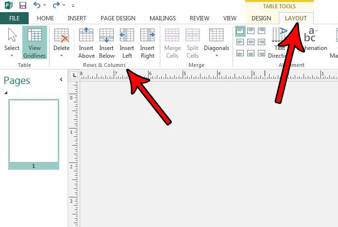 how to add or remove rows and columns in publisher 2013 table