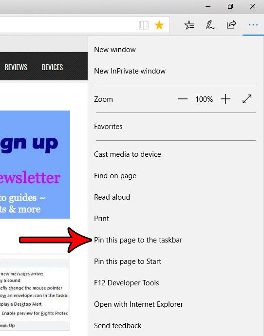 how to pin a web page link to the taskbar in microsoft edge