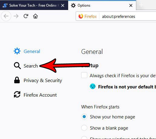 select the search tab in firefox