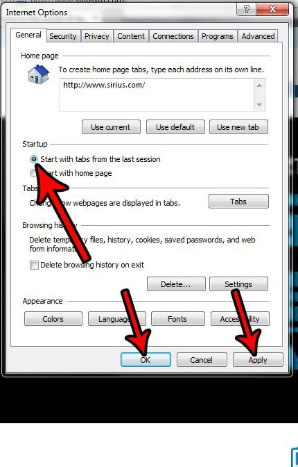 how to restart internet explorer with tabs from last session