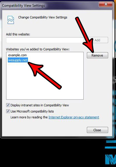 how to remove a site from compatibility view in internet explorer 11