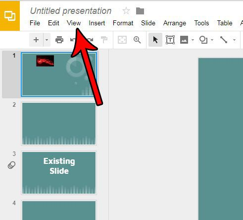 select the view tab in google slides