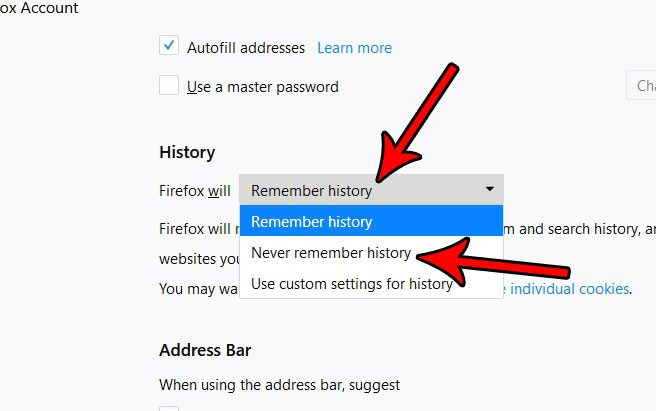 how to never remember history in firefox
