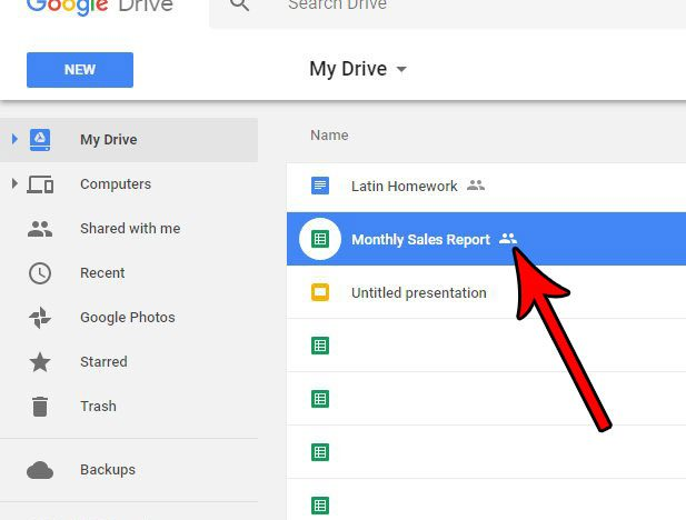 select a shared file in google docs