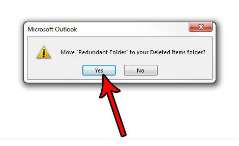 how to delete a folder in outlook 2013
