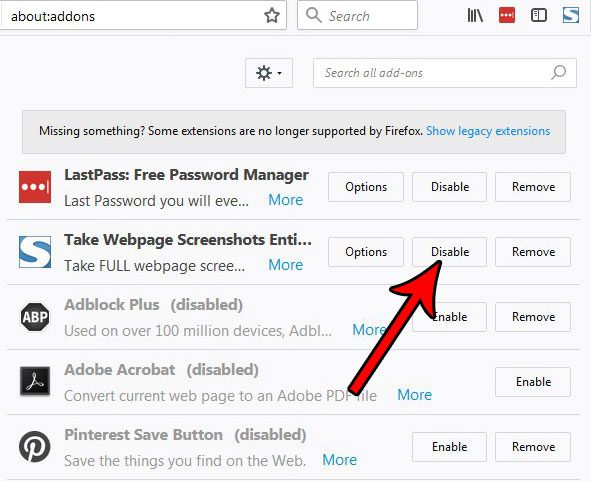 how to disable an add-on in firefox