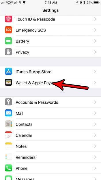 open the wallet and apple pay menu