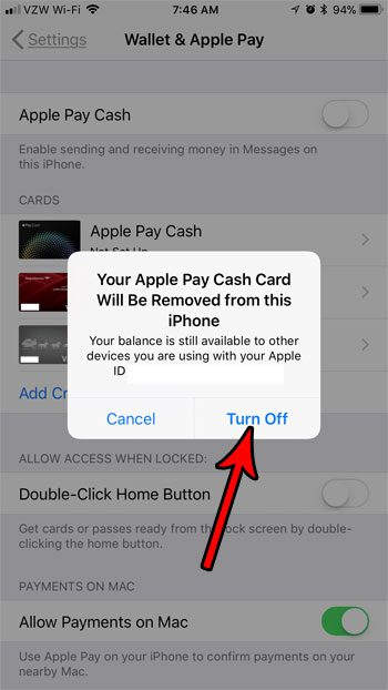 how to disable apple pay cash on iphone