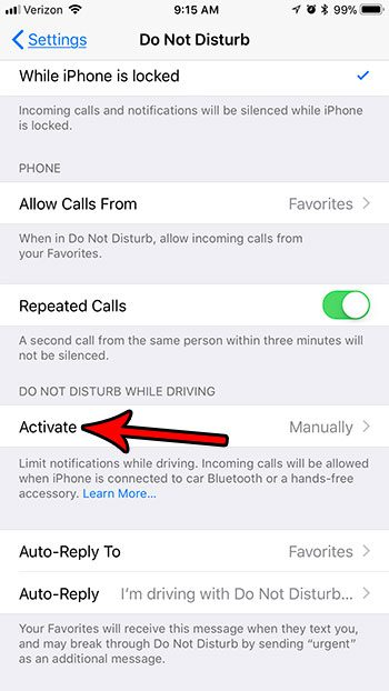 automatic do not disturb on iphone while driving