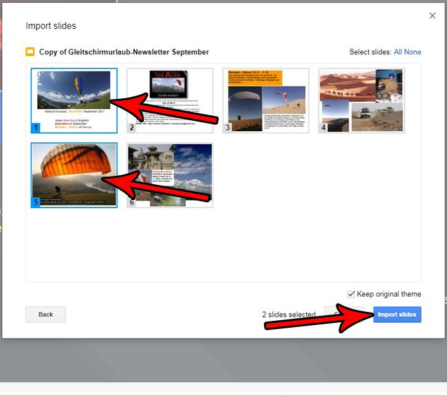 how to import slides in google slides
