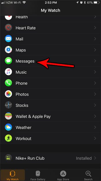 apple watch messages settings