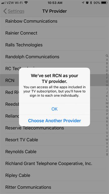 how to set your tv provider on an iphone 7