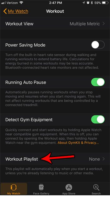 how set workout playlist apple watch