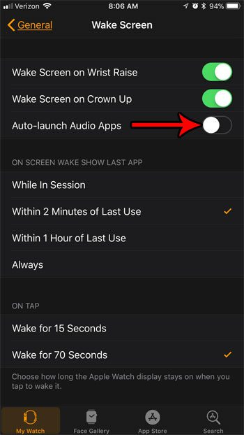 how stop auto launching audio apps apple watch