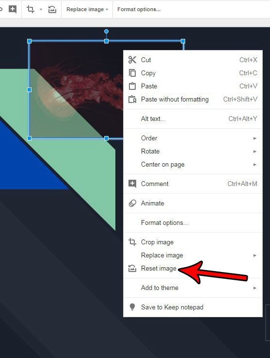 how to reset an image in google slides