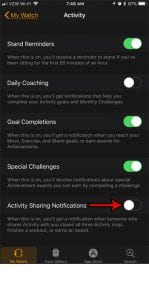 how turn off activity sharing notifications apple watch