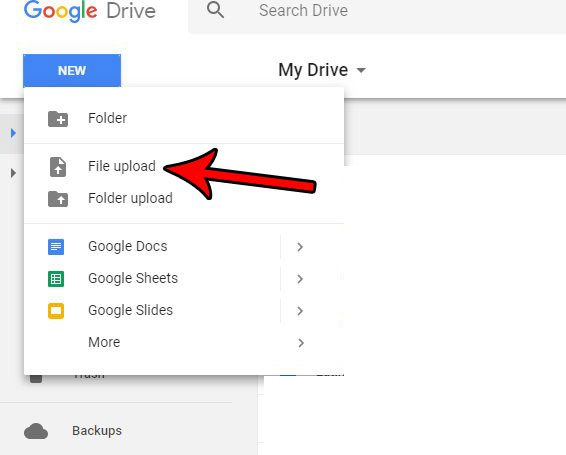 uploading files for google drive