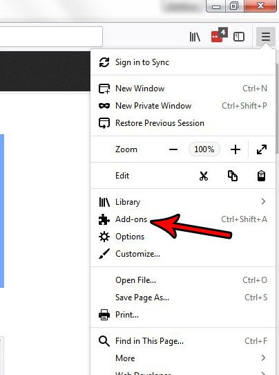 open the add ons menu in firefox
