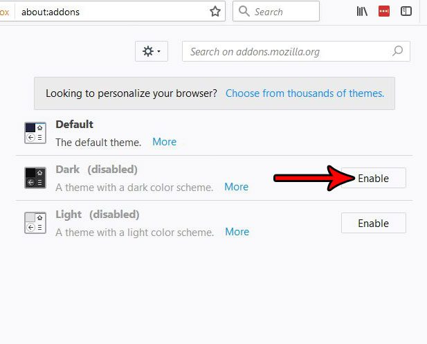how to use the dark theme in firefox
