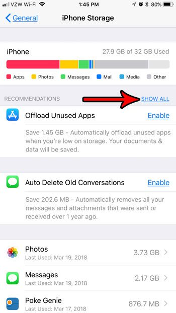 show all recommendations for saving space on iphone