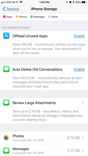 how to view storage recommendations on iphone