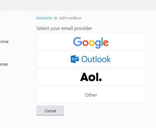 select type of email account to add to yahoo mail