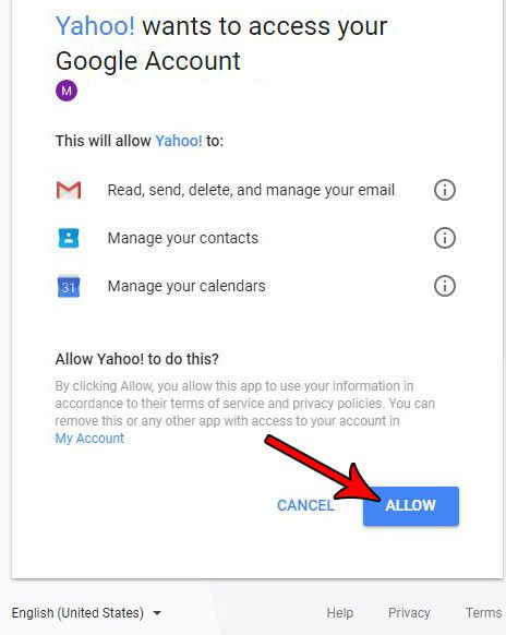 allow yahoo to access other email account