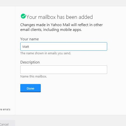 enter name and description for new account in yahoo mail