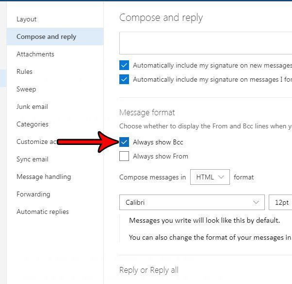 outlook.com how add bcc field