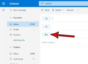 how to show the bcc field in outlook.com
