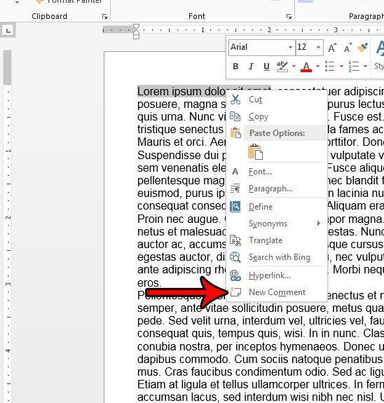 word 2013 add comment