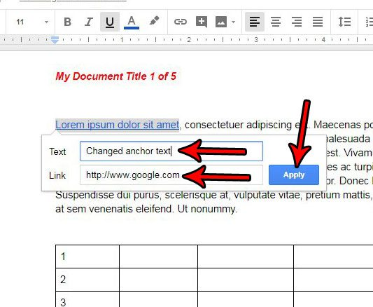 how to change a hyperlink in google docs